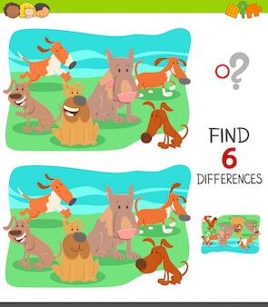 Jeu éducatif différences pour les enfants avec des chiens