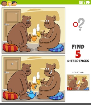 Jeu éducatif de différences pour les enfants avec des ours de dessin animé buvant du thé