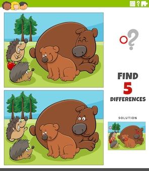 Jeu éducatif des différences pour les enfants avec des ours et des hérissons