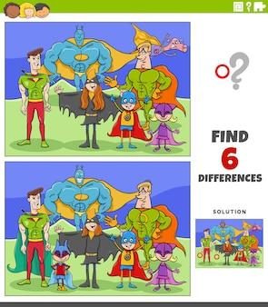 Jeu éducatif de différences avec des super héros de dessins animés