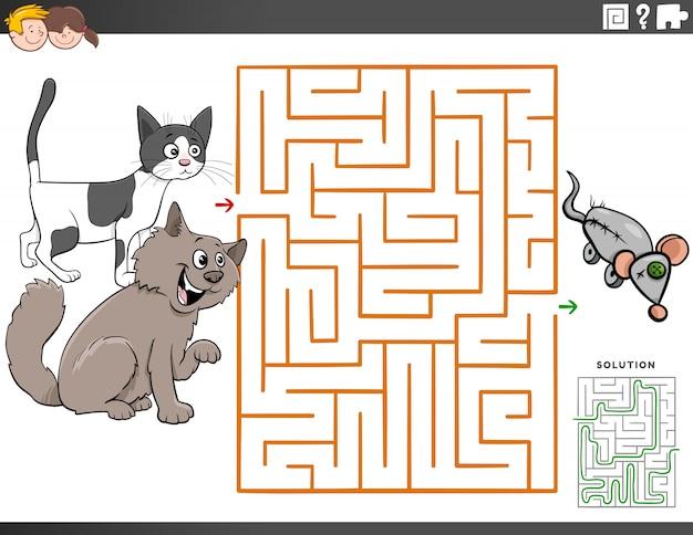 Jeu éducatif de labyrinthe avec des chats de bande dessinée