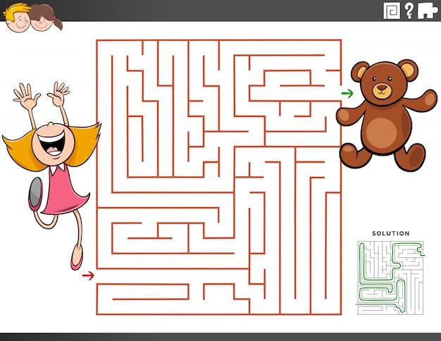 Jeu éducatif de labyrinthe avec fille et ours en peluche