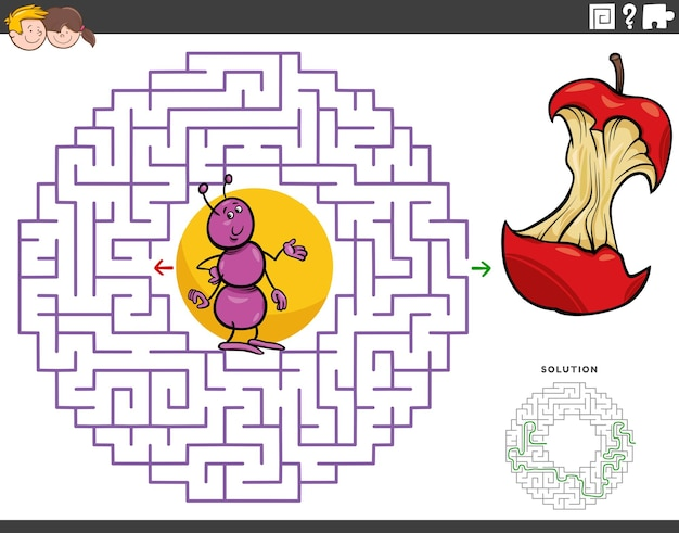 Jeu éducatif labyrinthe avec fourmi de dessin animé et noyau de pomme