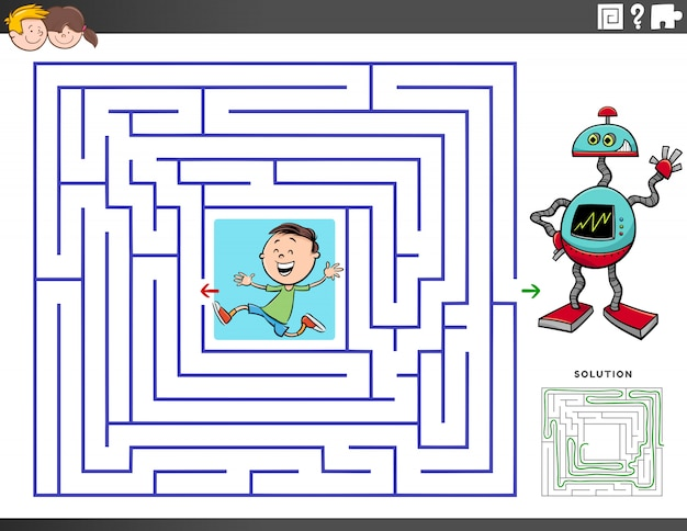 Jeu éducatif labyrinthe avec garçon et robot jouet
