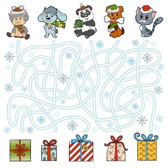 Jeu éducatif de labyrinthe pour les enfants, les petits animaux et les cadeaux de noël
