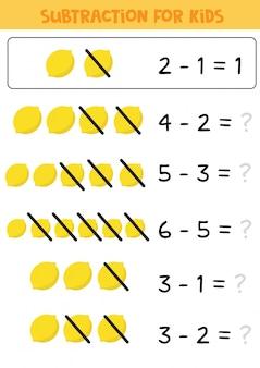 Jeu éducatif mathématique pour enfants, soustraction aux citrons