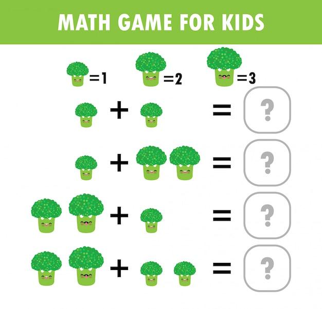 Jeu éducatif de mathématiques pour les enfants. comptage d'apprentissage, feuille de calcul pour les enfants. math addition soustraction puzzle brocoli légume trick question résoudre illustration plate