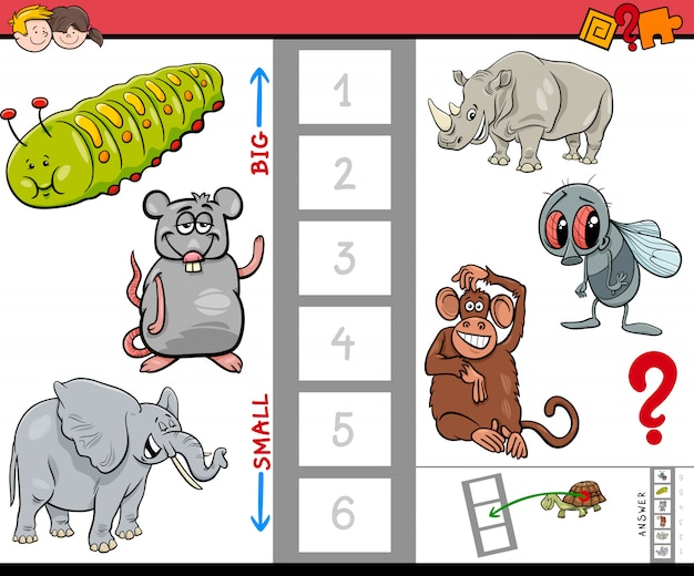 Jeu éducatif pour les enfants avec de grands et petits animaux