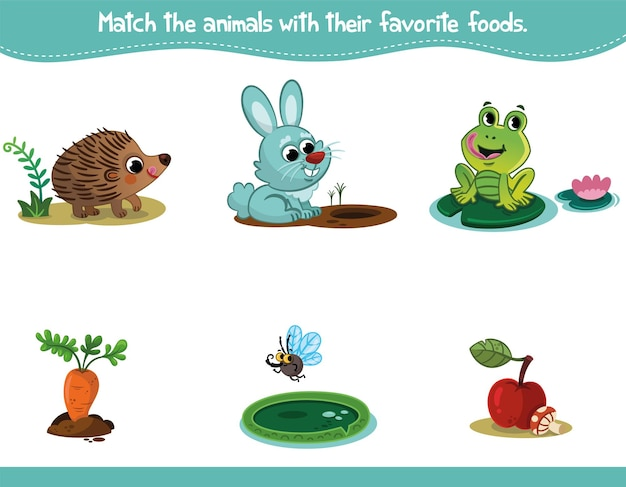 Jeu d'éducation au jeu d'association pour les enfants faites correspondre les animaux de dessin animé avec leurs aliments préférés