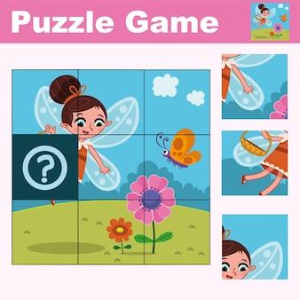 Jeu d'éducation de puzzle pour les enfants d'âge préscolaire avec illustration vectorielle de personnage de fée