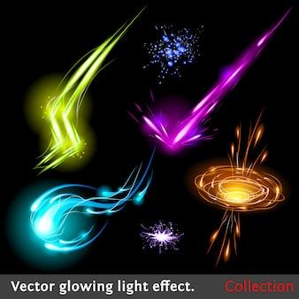 Jeu d'effet de lumière rougeoyante de vecteur