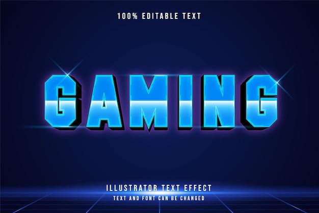 Jeu, effet de texte modifiable 3d dégradé bleu style futuriste moderne
