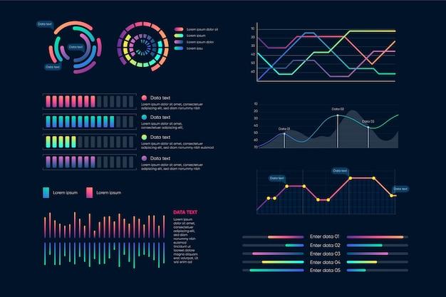 Jeu d'éléments de tableau de bord infographique