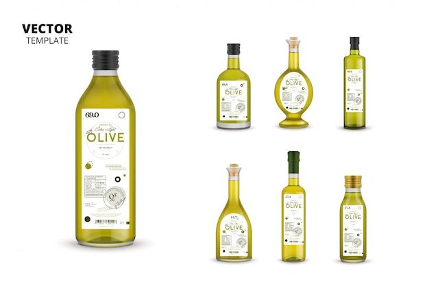 Jeu d'emballages en bouteille de verre d'huile d'olive extra vierge