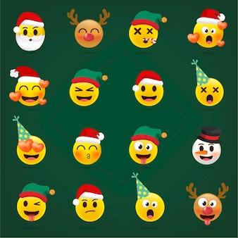 Jeu d'emoji de noël. collection d'émoticônes de vacances.