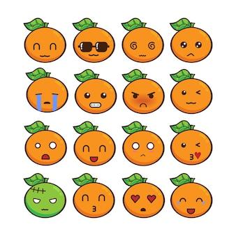 Jeu d'émoticônes de fruits orange