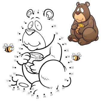 Jeu enfants point à point ours
