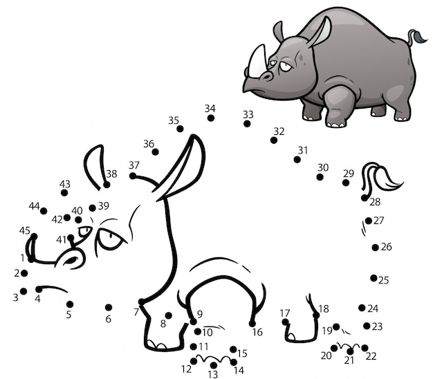 Jeu d'enfants point à point rhino