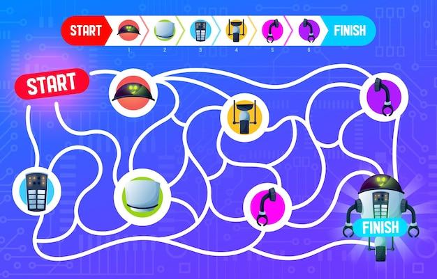 Jeu d'énigmes labyrinthe, robot de réparation, jeu de société de puzzle de dessin animé vectoriel. fond de jeu de société labyrinthe labyrinthe pour enfants, manière affectueuse et réparation robot droïde ou chatbot android avec des pièces sur la carte mère de l'ordinateur