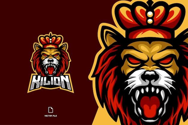 Jeu d'esport mascotte tête de roi lion en colère pour le logo de l'équipe de jeu de sport