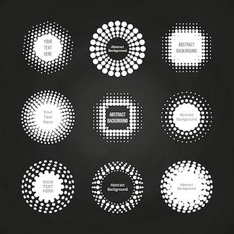 Jeu d'étiquettes abstraites rondes en pointillé - étiquettes demi-teintes définies sur un tableau