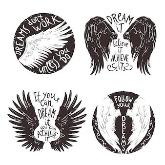 Jeu d'étiquettes d'ailes
