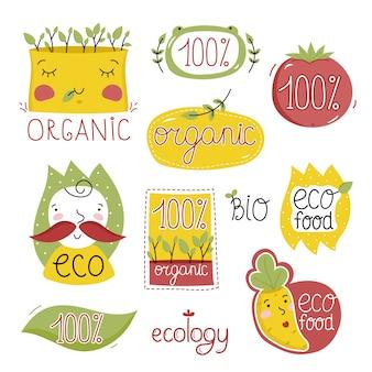 Jeu d'étiquettes d'aliments dessinés à la main