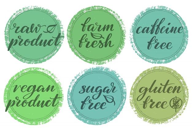Jeu d'étiquettes d'aliments sains. étiquettes ou autocollants de produits.