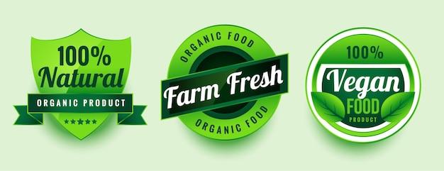 Jeu d'étiquettes d'aliments végétaliens frais de ferme