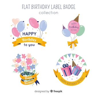 Jeu d'étiquettes d'anniversaire couleur pastel