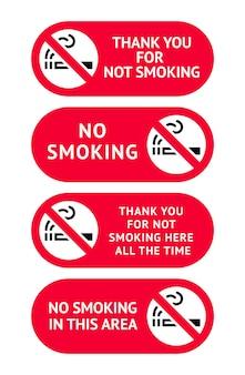 Jeu d'étiquettes autocollants non fumeur