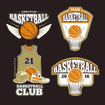 Jeu d'étiquettes de basket-ball