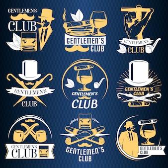 Jeu d'étiquettes de club de gentlemen colorés