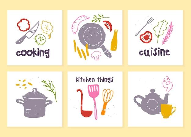 Jeu d'étiquettes de cuisine pour la conception de menus vectorielles