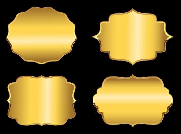 Jeu d'étiquettes dorées