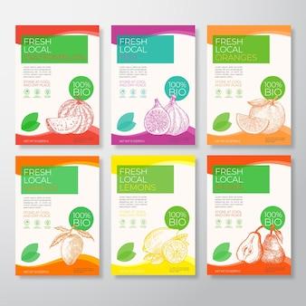 Jeu D'étiquettes D'emballage De Fruits Locaux Frais Vecteur Premium