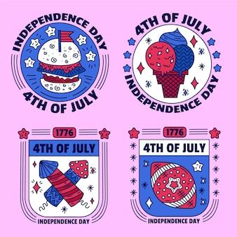 Jeu d'étiquettes de la fête de l'indépendance