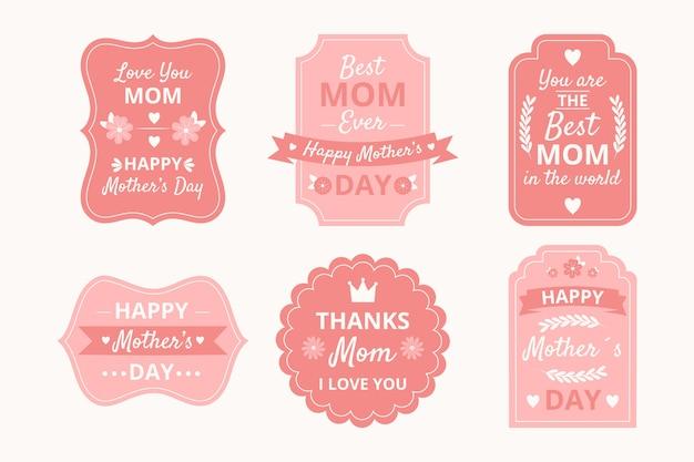 Jeu d'étiquettes de fête des mères dessinés à la main