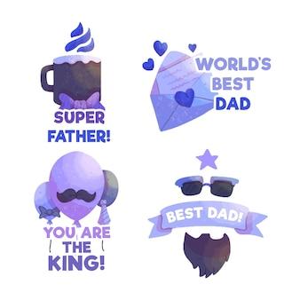 Jeu d'étiquettes de fête des pères dessinés à la main
