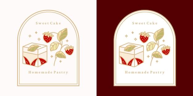 Jeu d'étiquettes de gâteau vintage dessinés à la main