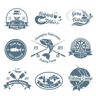Jeu d'étiquettes et d'insignes de pêche