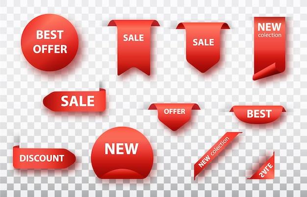 Jeu d'étiquettes isolé. rubans rouges, étiquettes et autocollants. illustration vectorielle.