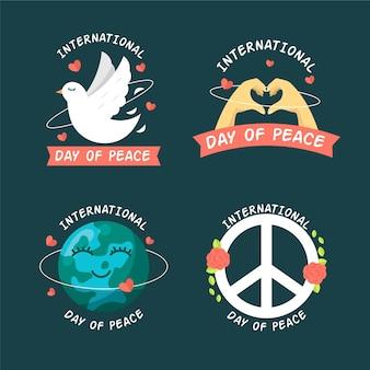 Jeu d'étiquettes de la journée internationale de la paix