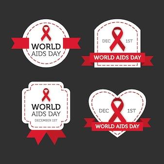 Jeu d'étiquettes de la journée mondiale du sida