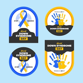Jeu d'étiquettes de la journée mondiale de la trisomie 21