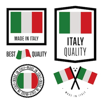 Jeu d'étiquettes made in italy