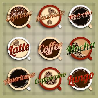 Jeu d'étiquettes de menu de café