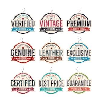 Jeu d'étiquettes de mode vintage