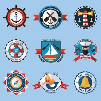 Jeu d'étiquettes nautiques