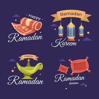 Jeu d'étiquettes plat ramadan